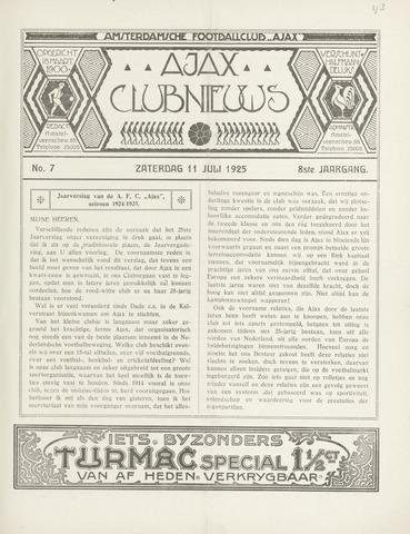 Clubnieuws Ajax (vanaf 1916) 1925-07-11