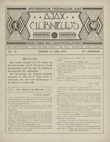 Clubnieuws Ajax (vanaf 1916) 1919-06-15