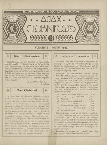 Clubnieuws Ajax (vanaf 1916) 1922
