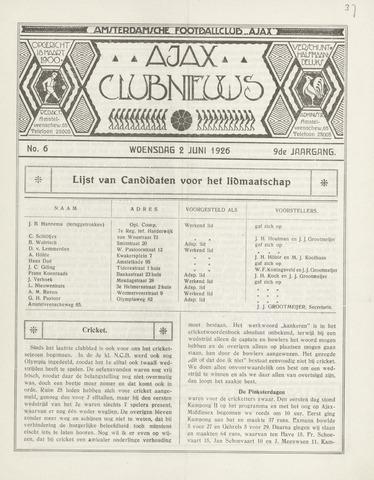 Clubnieuws Ajax (vanaf 1916) 1926-06-02