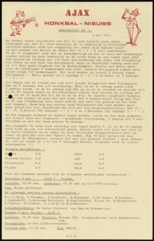 Honkbal nieuws (1963-1972) 1971-05-02
