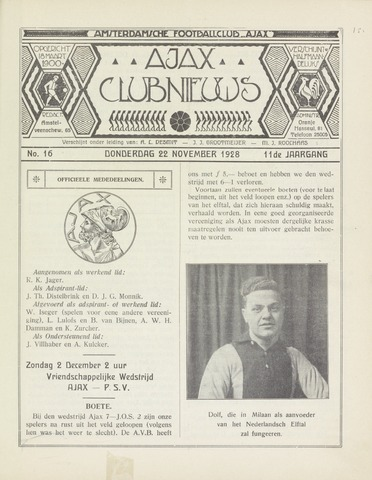 Clubnieuws Ajax (vanaf 1916) 1928-11-22