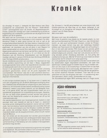 Clubnieuws Ajax (vanaf 1916) 1982-03-01