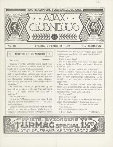 Clubnieuws Ajax (vanaf 1916) 1926-02-05