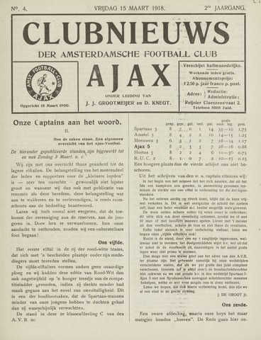 Clubnieuws Ajax (vanaf 1916) 1918-03-15