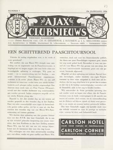 Clubnieuws Ajax (vanaf 1916) 1936-03-01