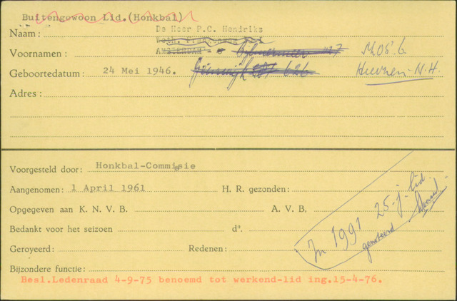 Ledenkaarten (1911-1989) 1961