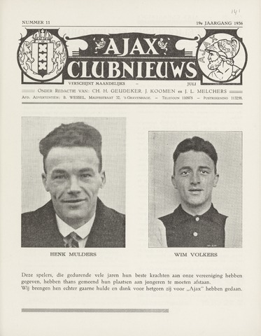 Clubnieuws Ajax (vanaf 1916) 1936-07-01