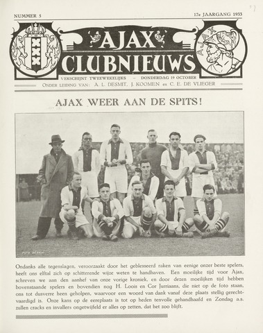 Clubnieuws Ajax (vanaf 1916) 1933-10-19