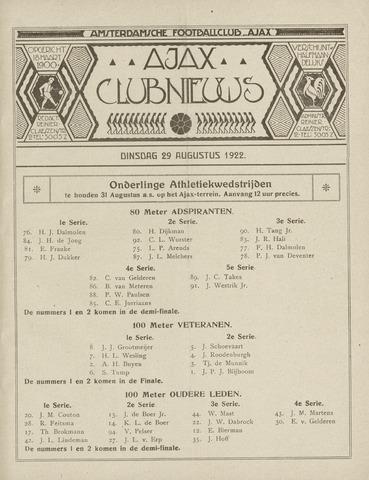 Clubnieuws Ajax (vanaf 1916) 1922-08-29