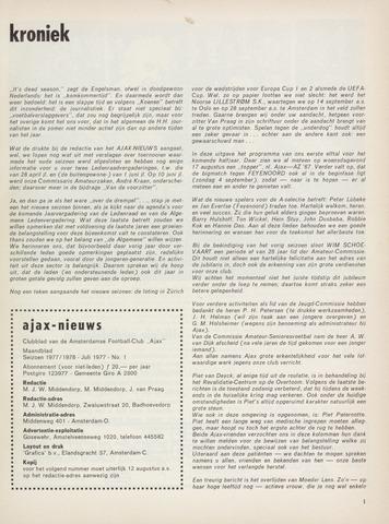 Clubnieuws Ajax (vanaf 1916) 1977-07-01