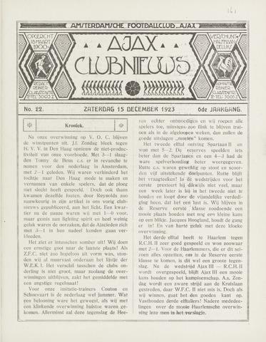 Clubnieuws Ajax (vanaf 1916) 1923-12-15