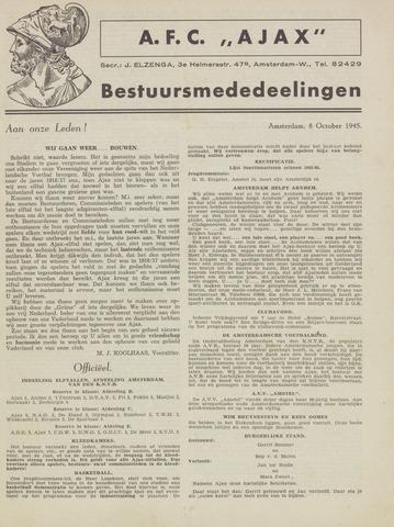 Clubnieuws Ajax (vanaf 1916) 1945-10-08