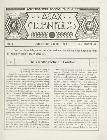 Clubnieuws Ajax (vanaf 1916) 1923-04-05