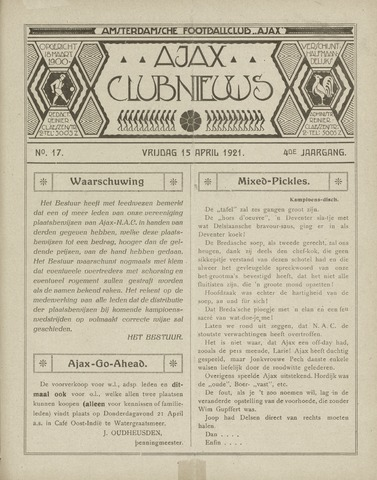 Clubnieuws Ajax (vanaf 1916) 1921-04-15