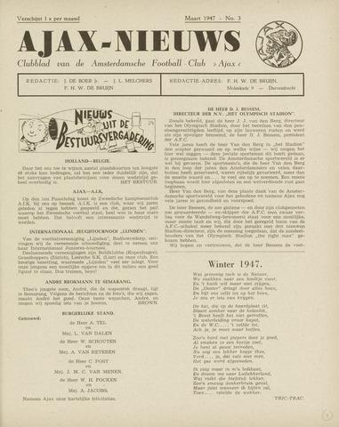 Clubnieuws Ajax (vanaf 1916) 1947-03-01