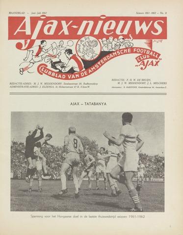 Clubnieuws Ajax (vanaf 1916) 1962-06-01