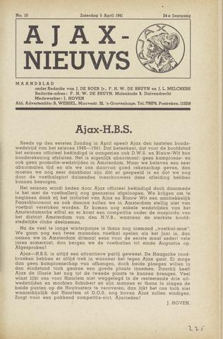 Clubnieuws Ajax (vanaf 1916) 1941-04-05