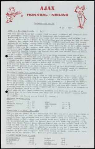 Honkbal nieuws (1963-1972) 1971-07-18