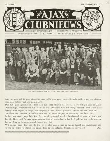 Clubnieuws Ajax (vanaf 1916) 1933-08-10