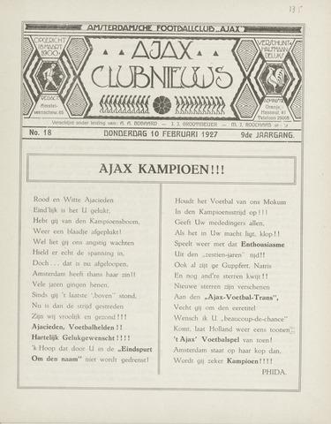 Clubnieuws Ajax (vanaf 1916) 1927-02-10