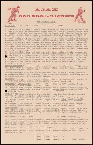 Honkbal nieuws (1963-1972) 1968-04-29