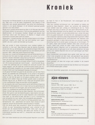 Clubnieuws Ajax (vanaf 1916) 1982