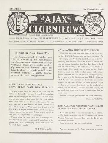 Clubnieuws Ajax (vanaf 1916) 1936-10-01