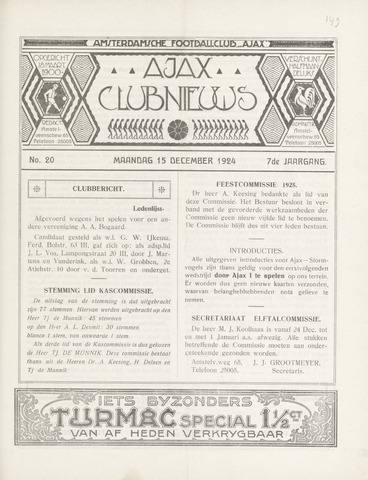 Clubnieuws Ajax (vanaf 1916) 1924-12-15