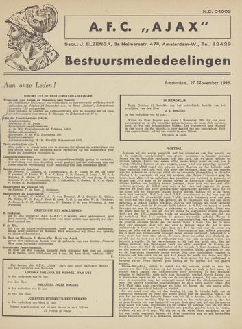 Clubnieuws Ajax (vanaf 1916) 1943-11-27