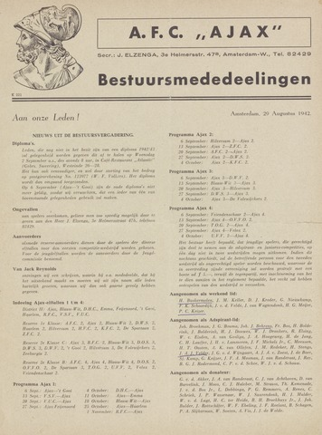 Clubnieuws Ajax (vanaf 1916) 1942-08-29