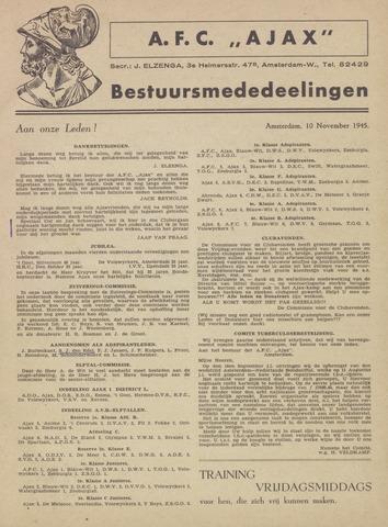 Clubnieuws Ajax (vanaf 1916) 1945-11-10