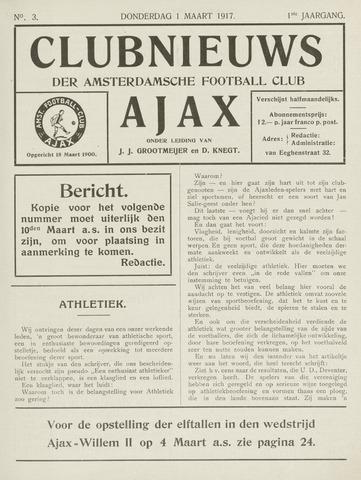 Clubnieuws Ajax (vanaf 1916) 1917-03-01