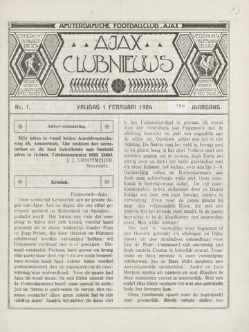 Clubnieuws Ajax (vanaf 1916) 1924-02-01