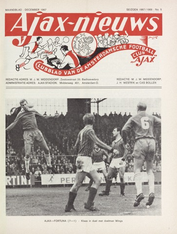 Clubnieuws Ajax (vanaf 1916) 1967-12-01
