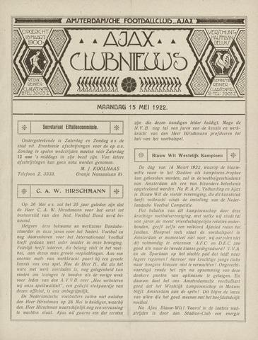 Clubnieuws Ajax (vanaf 1916) 1922-05-15