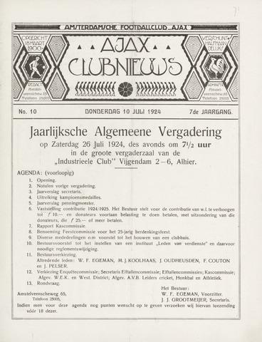 Clubnieuws Ajax (vanaf 1916) 1924-07-10