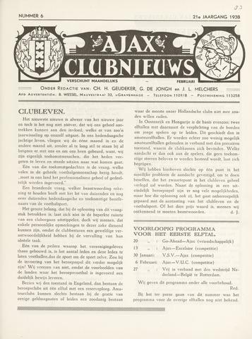 Clubnieuws Ajax (vanaf 1916) 1938-02-01