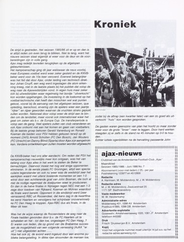 Clubnieuws Ajax (vanaf 1916) 1986-06-01