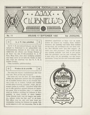 Clubnieuws Ajax (vanaf 1916) 1926-09-17