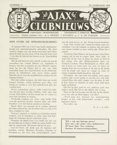 Clubnieuws Ajax (vanaf 1916) 1933-02-15