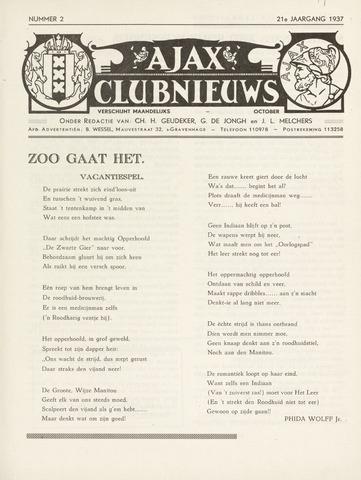 Clubnieuws Ajax (vanaf 1916) 1937-10-01