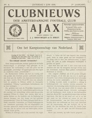 Clubnieuws Ajax (vanaf 1916) 1918-06-01
