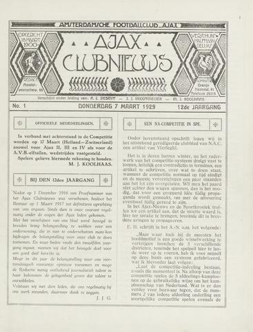 Clubnieuws Ajax (vanaf 1916) 1929-03-07