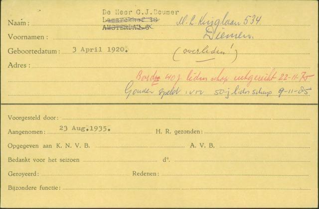 Ledenkaarten (1911-1989) 1935