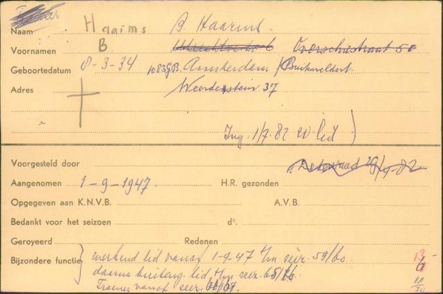 Ledenkaarten (1911-1989) 1947
