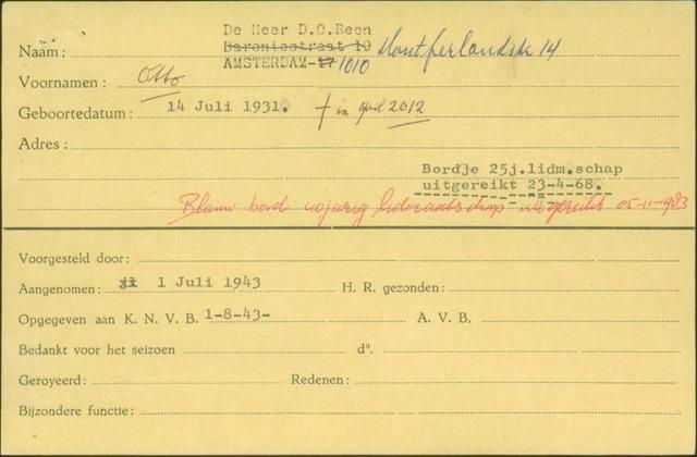 Ledenkaarten (1911-1989) 1943
