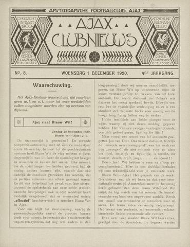 Clubnieuws Ajax (vanaf 1916) 1920-12-01