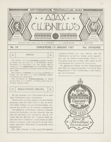 Clubnieuws Ajax (vanaf 1916) 1927-01-13