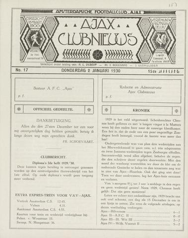 Clubnieuws Ajax (vanaf 1916) 1930-01-02